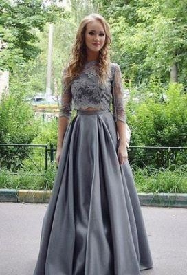 Elegant Scoop Gray Two-Pieces Lace Long Floor-length Half-sleeves 2020 Prom Dress_2