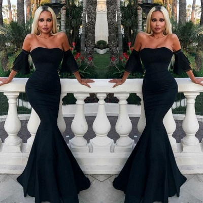 2020 Sexy Strapless Mermaid 2020 Evening Dress | Black Long Prom Gown On Sale_2