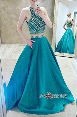 A-Line Two-Pieces Halter Luxury Crystal Sleeveless Prom Dress_3