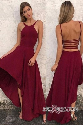 Backless A-line Hi-lo Attractive Scoop Prom Dresses_2