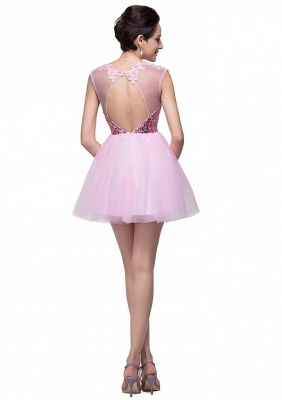Cute Pink Sequins Sleeveless Homecoming Dress 2020 Tulle Short_5