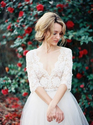 Gorgeous Hal-Sleeve Summer Lace Wedding Dress 2020 Tulle_2