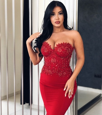 Sexy Red Sweetheart Lace Prom Dress | 2020 Mermaid Long Evening Gowns With Ruffles BC0265_2