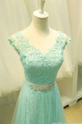 Elegant Lace Appliques Sleeveless Prom Dress Floor Length Tulle Evening Gowns_6
