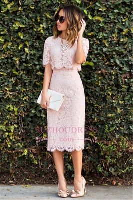 Cute Two-Piece Short-Sleeve Fashion Pink Lace Short Homecoming Dresses BA6003_1