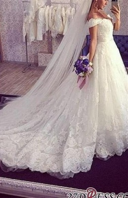 2020 Ball-Gown Off-the-shoulder Tulle Delicate Train Lace Wedding Dress_3