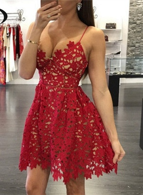 Sexy Red Lace 2020 Homecoming Dress Short Spaghetti Strap Party Gowns_1