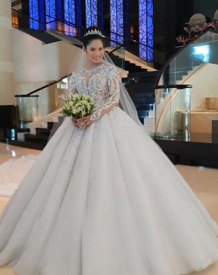 Glamorous Long Sleeve 2020 Ball Gown Wedding Dresses | Lace Appliques Tulle Bridal Gown BC0895_5