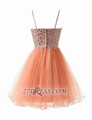 Glamorous Sweetheart Sleeveless Short Homecoming Dress Spaghetti Strap Beadings Crystals Tulle Cocktail Gown_3