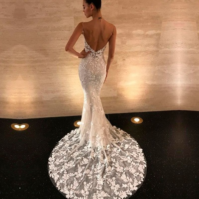 Gorgeous Open Back Lace Wedding Dresses | 2020 Mermaid Spaghetti-Straps Bridal Gowns BC0292_3