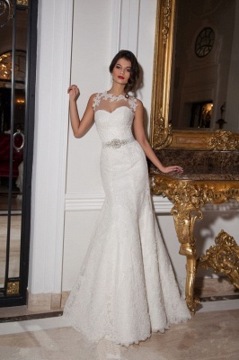 Sexy Illusion Sleeveless Mermaid Wedding Dress With Lace Appliques_1