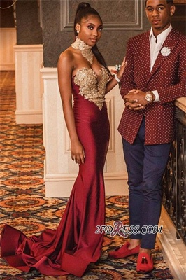 Burgundy High-Neck Appliques Mermaid Evening Gown | Sexy Sleeveless Prom Dress_3