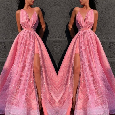 Beautiful Hot Pink V-Neck Evening Dress   2020 Slit Prom Gown On Sale BC4051_2