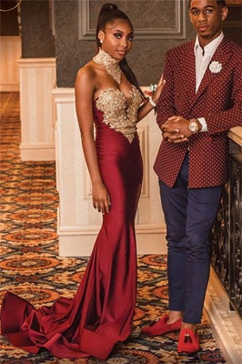 Burgundy High-Neck Appliques Mermaid Evening Gown | Sexy Sleeveless Prom Dress_4