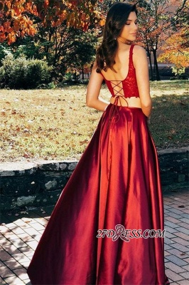 Red Glamorous Open-Back Side-Slit Two-Pieces Evening Dresses_1