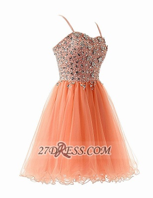 Glamorous Sweetheart Sleeveless Short Homecoming Dress Spaghetti Strap Beadings Crystals Tulle Cocktail Gown_2