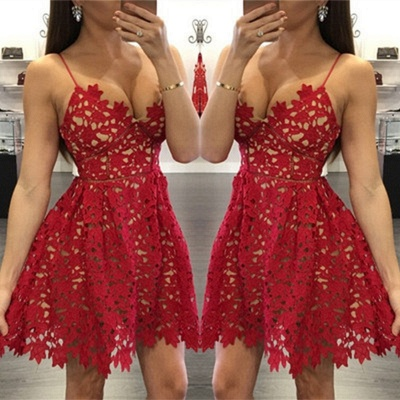 Sexy Red Lace 2020 Homecoming Dress Short Spaghetti Strap Party Gowns_3