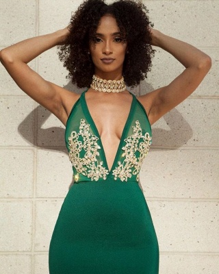 Elegant Green V-Neck Evening Dress | Backless Mermaid Prom Dress With Lace_3