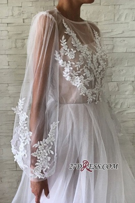 Applique A-line Jewel Flare-long-sleeve With-slip Wedding Dress_1