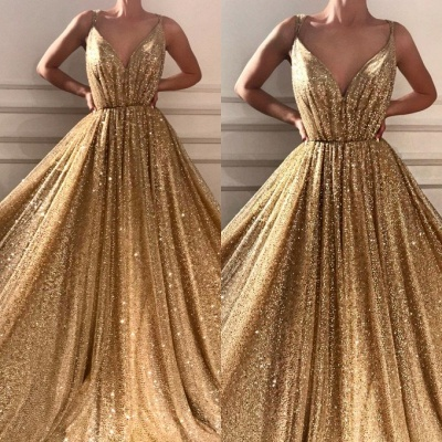 Gorgeous Sequins V-Neck Prom Dresses | 2020 Long Sleeveless Evening Gowns BC1464_3