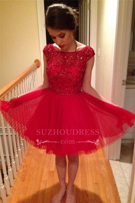 Short Crystal Red A-Line Cap-Sleeves Homecoming Dress BA3582_1