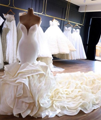 Sexy Strapless Mermaid Ivory Wedding Dresses Tiered Ruffles Satin Bridal Gowns with Cathedral Train_2