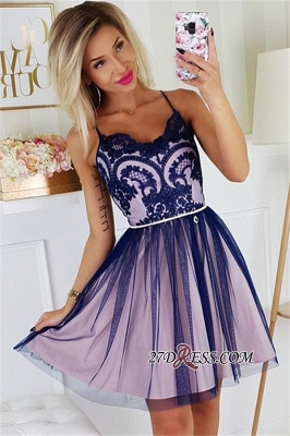 Sexy A-line Appliques Short Spaghetti-Straps Homecoming Dresses_2