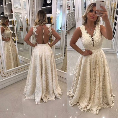Gorgeous Sleeveless Lace 2020 Evening Dress Long With Pearls_3
