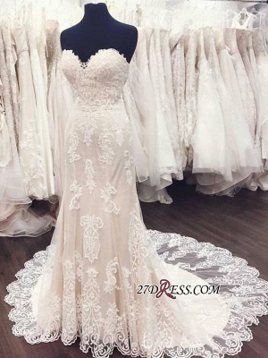 Elegant Lace White A-Line Sweetheart Weeding Dresses_1