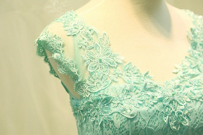 Elegant Lace Appliques Sleeveless Prom Dress Floor Length Tulle Evening Gowns_4