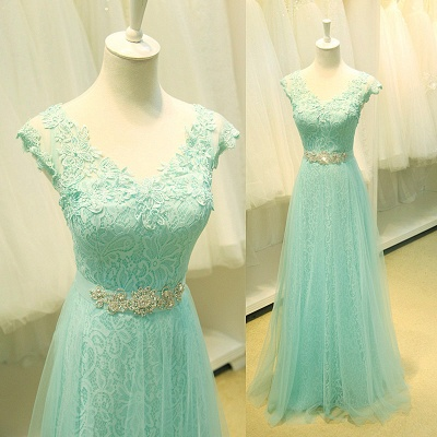 Elegant Lace Appliques Sleeveless Prom Dress Floor Length Tulle Evening Gowns_2