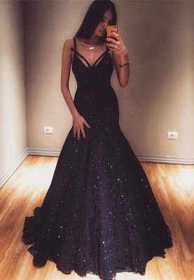 Glamorous V-Neck Mermaid Evening Gowns 2020 Sequins Prom Dresses On Sale_1