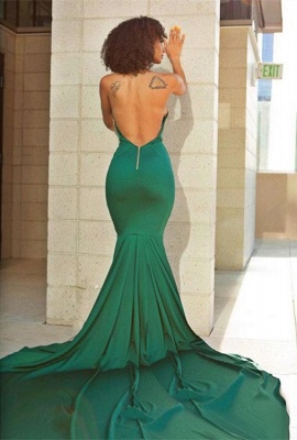 Elegant Green V-Neck Evening Dress | Backless Mermaid Prom Dress With Lace_4