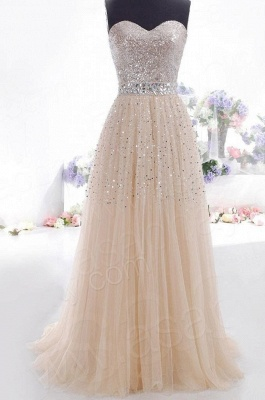 Luxurious Sweetheart Sleeveless Long Evening Dress With Beadings And Sequins_2