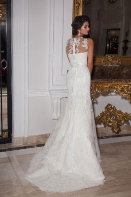 Sexy Illusion Sleeveless Mermaid Wedding Dress With Lace Appliques_2