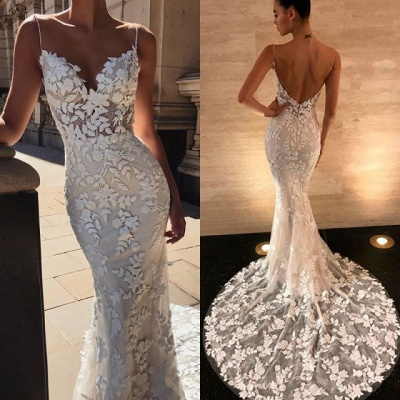 Gorgeous Open Back Lace Wedding Dresses | 2020 Mermaid Spaghetti-Straps Bridal Gowns BC0292_4