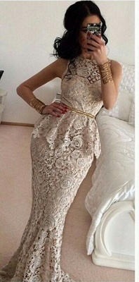 Gorgeous Full Lace Sleeveless Mermaid Evening Dresses Sweep Train Prom Gowns_2
