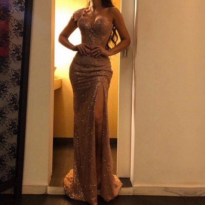Glamorous One Shoulder Evening Gowns   2020 Mermaid Sequins Prom Dresses BC0753_2