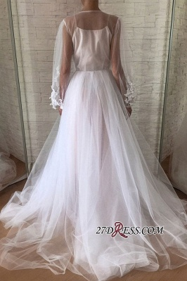 Applique A-line Jewel Flare-long-sleeve With-slip Wedding Dress_3