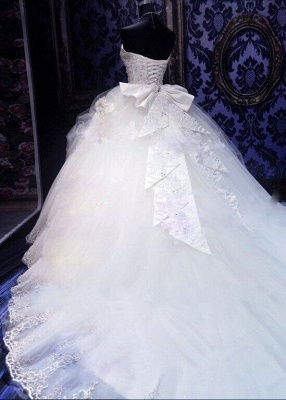 Gorgeous Ball Gown Beadings Wedding Dress 2020 Court Train Bowknot_3