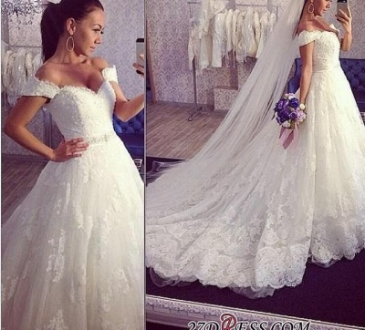 2020 Ball-Gown Off-the-shoulder Tulle Delicate Train Lace Wedding Dress_1