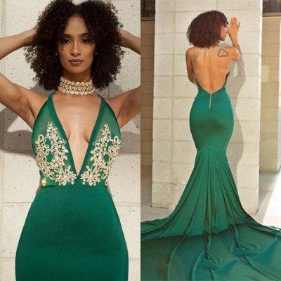 Elegant Green V-Neck Evening Dress | Backless Mermaid Prom Dress With Lace_5