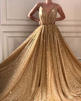 Gorgeous Sequins V-Neck Prom Dresses | 2020 Long Sleeveless Evening Gowns BC1464_2