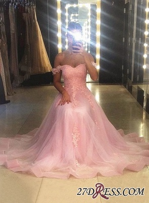 Sleeveless A-line Sweep-trian Pink Lace Sweetheart-neck Evening Dress_1