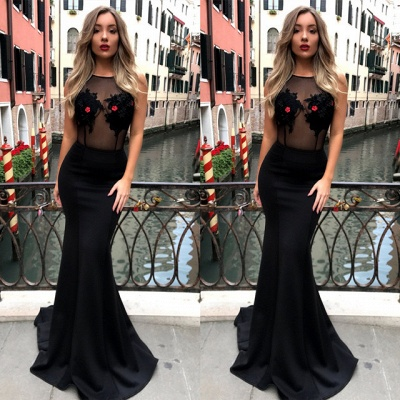 Sexy Black Sleeveless Lace Appliques Evening Gown | Long Prom Dress_3