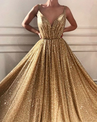 Gorgeous Sequins V-Neck Prom Dresses | 2020 Long Sleeveless Evening Gowns BC1464_1