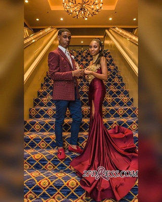 Burgundy High-Neck Appliques Mermaid Evening Gown | Sexy Sleeveless Prom Dress_2