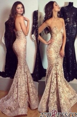 Mermaid Champagne Sweetheart-Neck Sexy Lace Evening Gowns_2