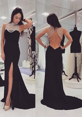 Sexy Black Beadings Prom Dress 2020 Front Split Long Chiffon Gowns_1