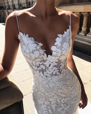 Gorgeous Open Back Lace Wedding Dresses | 2020 Mermaid Spaghetti-Straps Bridal Gowns BC0292_2